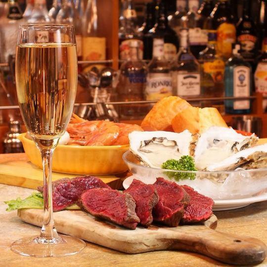 オイスター&バル宴会は、『厳選の生牡蠣』 と『絶品の蒸し牡蠣』 そしてオレガノステーキをメインに満足◎