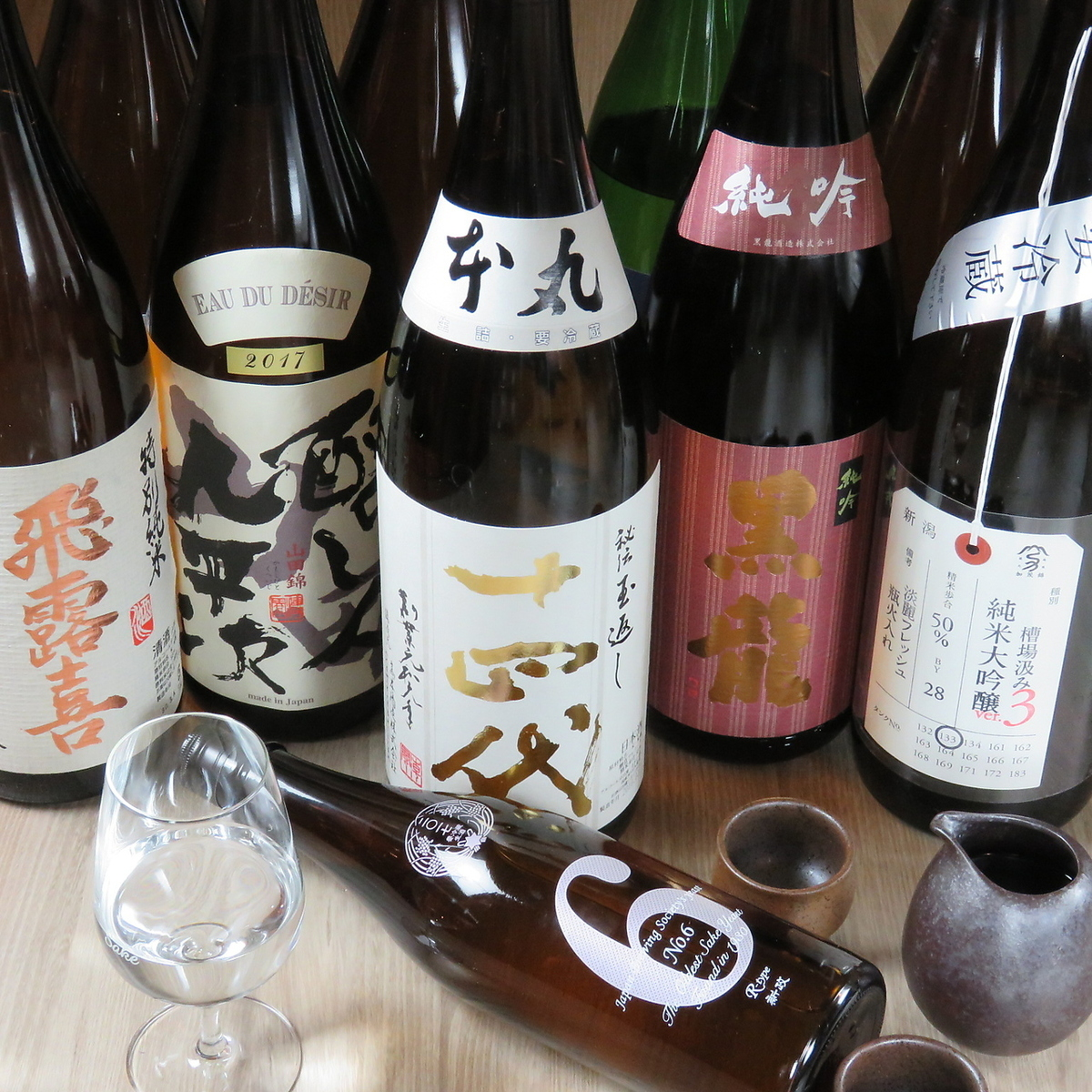 A lot of authentic sake brought from all over the country.