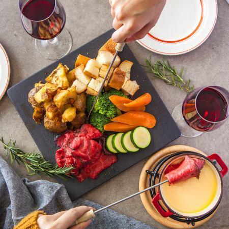 【所有你可以吃和所有你可以喝】3小時你可以喝+自製烤牛肉和奶酪火鍋所有你可以吃10項3480日元