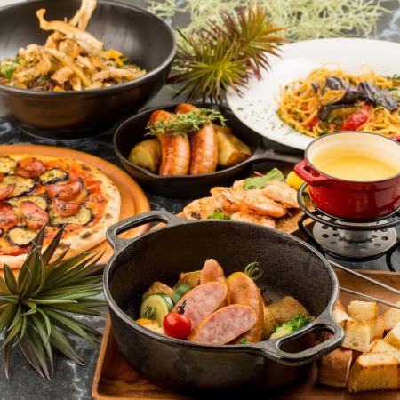 【午餐】7道無限暢飲+奶酪火鍋7道菜1980日元女子組合熱門·媽媽偶然·包機