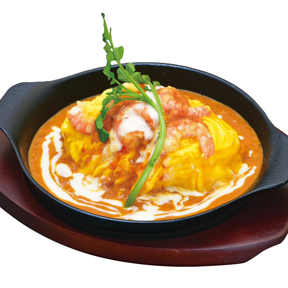 Shrimp and crab tomato cream omelet rice