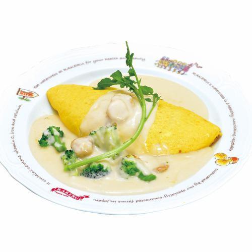帆立貝のクリームソースオムライス