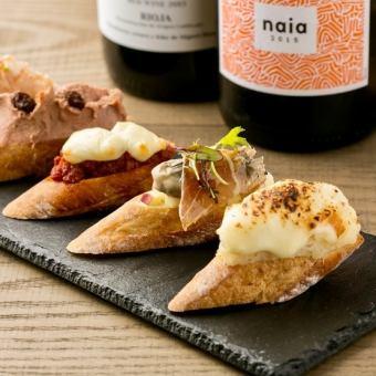 スペインの伝統と現代を一皿で味わう幸せ。本日のビンチョス(3種類)