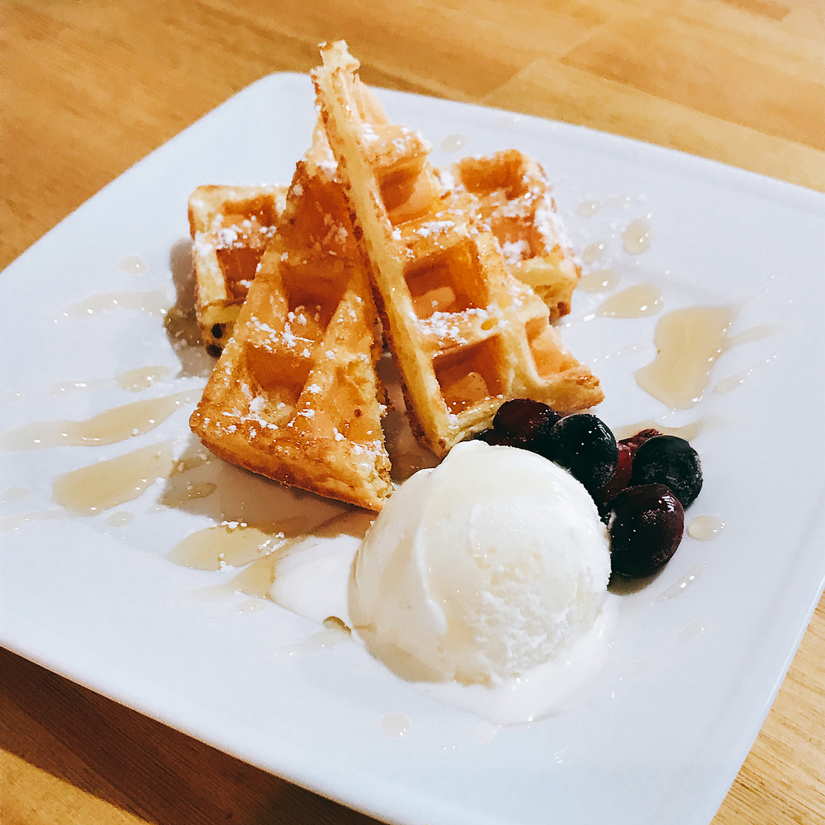 Various waffles, various types of coffee are available.