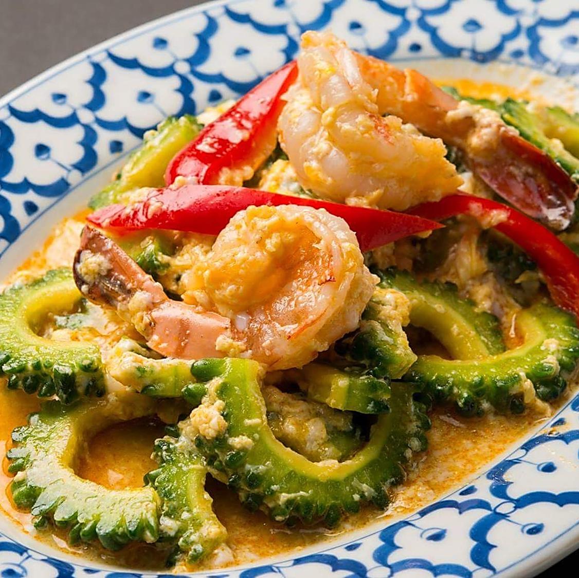 Stir-fry shrimp and bitter gourd