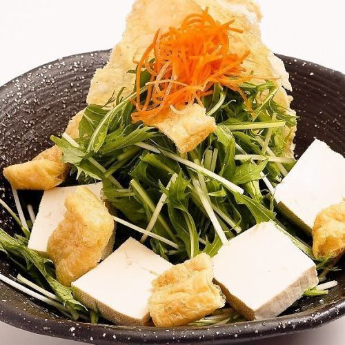 ■豆腐と京菜のサクサク湯葉サラダ