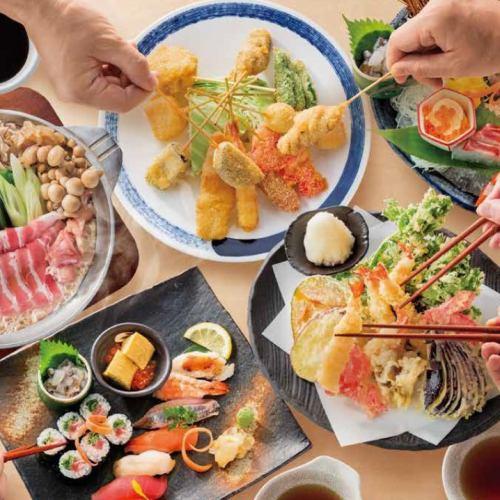 梅田の居酒屋「贔屓屋」のおすすめ料理3!グループでの飲み会に♪天ぷら・串カツ・寿司など各種盛り合わせ