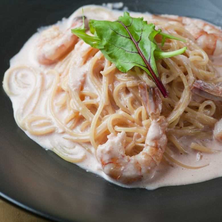 Most popular! Shrimp and herbs and asparagus mentaiko cream pasta