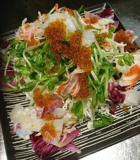 Japanese style salad with seafood