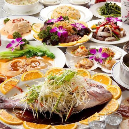 推薦參加新年派對!【盡情享受2小時飲品】搭配北京烤鴨和魚翅!全部10件5780日元(不含稅)套餐