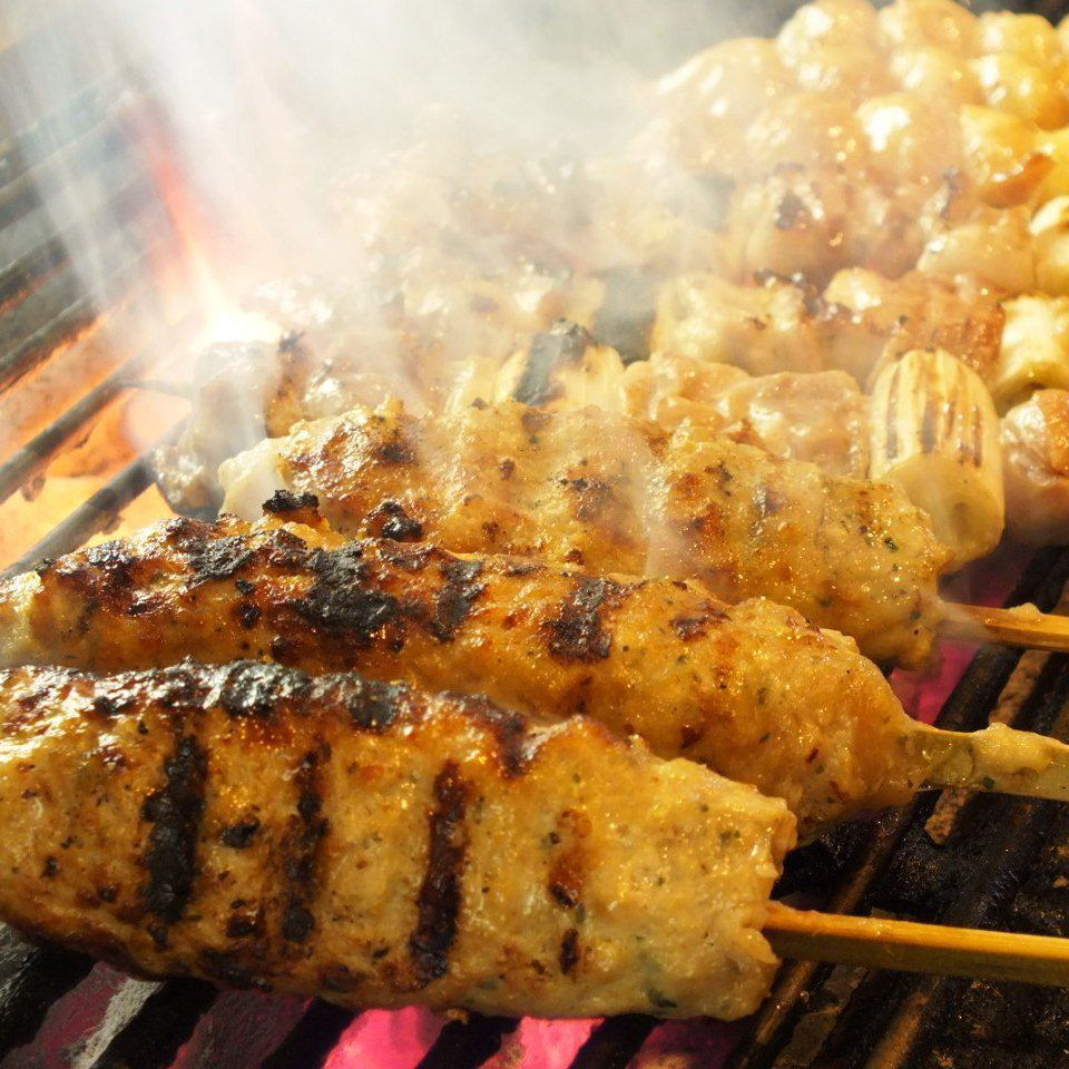 Customers come from far away to eat this skewers too! Bird Komachi signboard menu !!