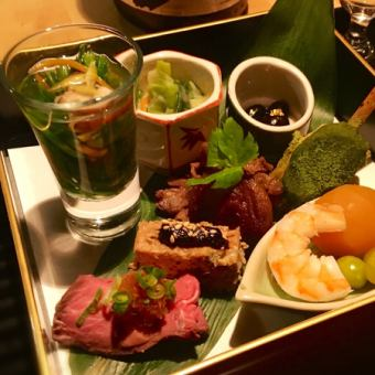 【綾】烏龜座餐!對於想要一點一點地享用菜餚的人,主要是用清酒【全友暢飲(90分鐘)】(4860日元)