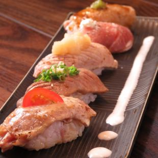 The day OK !! Popular !! 【Yoshigao net grilled SUSHI】 + 100 minutes [Drinking] with petit full course 5000 yen → 4000 yen