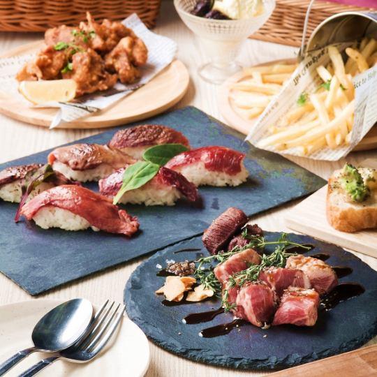 """""""Lunch""""◆ 점심도 낚시 ☆ 구이 고기 초밥 느긋 런치 코스 ♪ <180 분 맘껏 마시기> [6 품 2500]"""