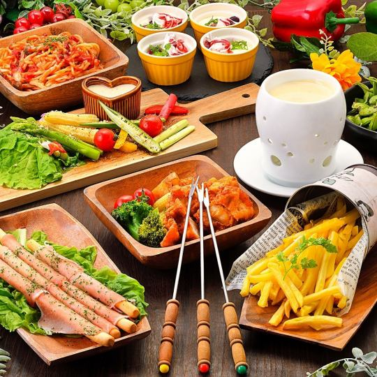☆ NIKU Women's Association ☆ Meat & Cheese Fondue ⇒ All you can eat ♪ <120 minutes with all you can drink> 【7 items 2980】
