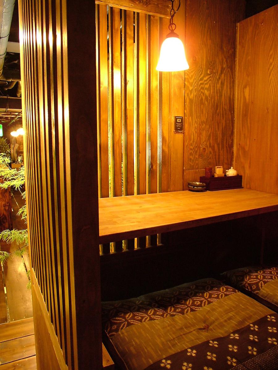 横並びのカップル様向け個室。堀ごたつ式。