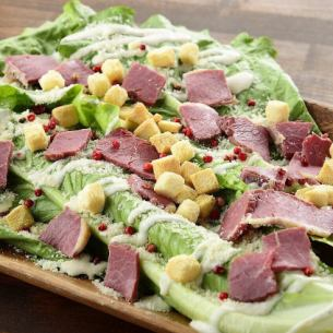 Caesar salad with horse bacon