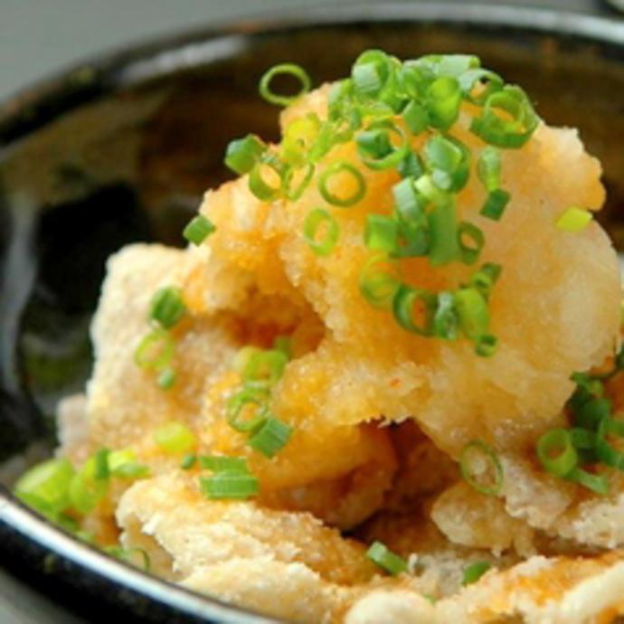 Crispy chicken skin ponzu