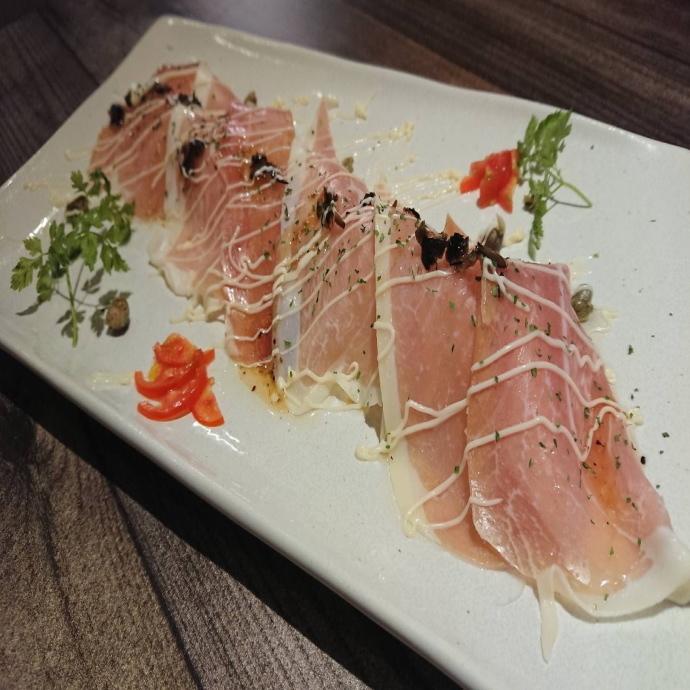 Raw ham and salad