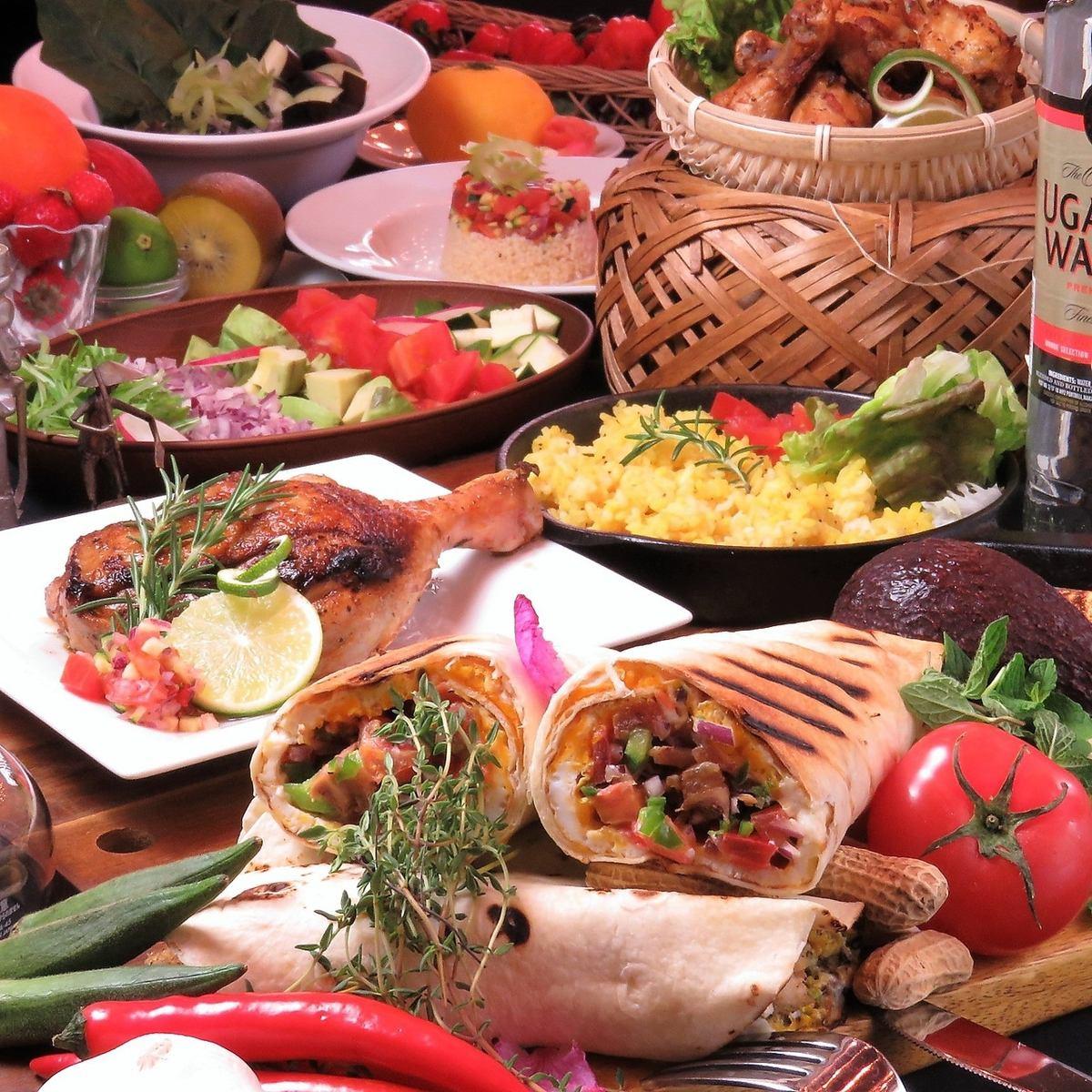 일식의 기술과 아프리카 특유의 향신료와 재료를 절묘하게 융합! 맛에 자신 있음! 50 석!