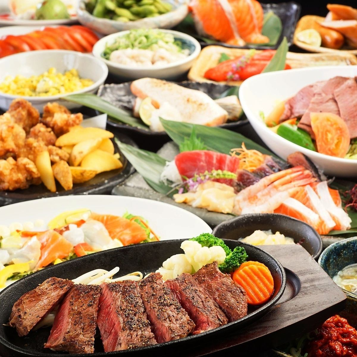 Meat dishes such as beef steak and young chicken steak are enriched ♪