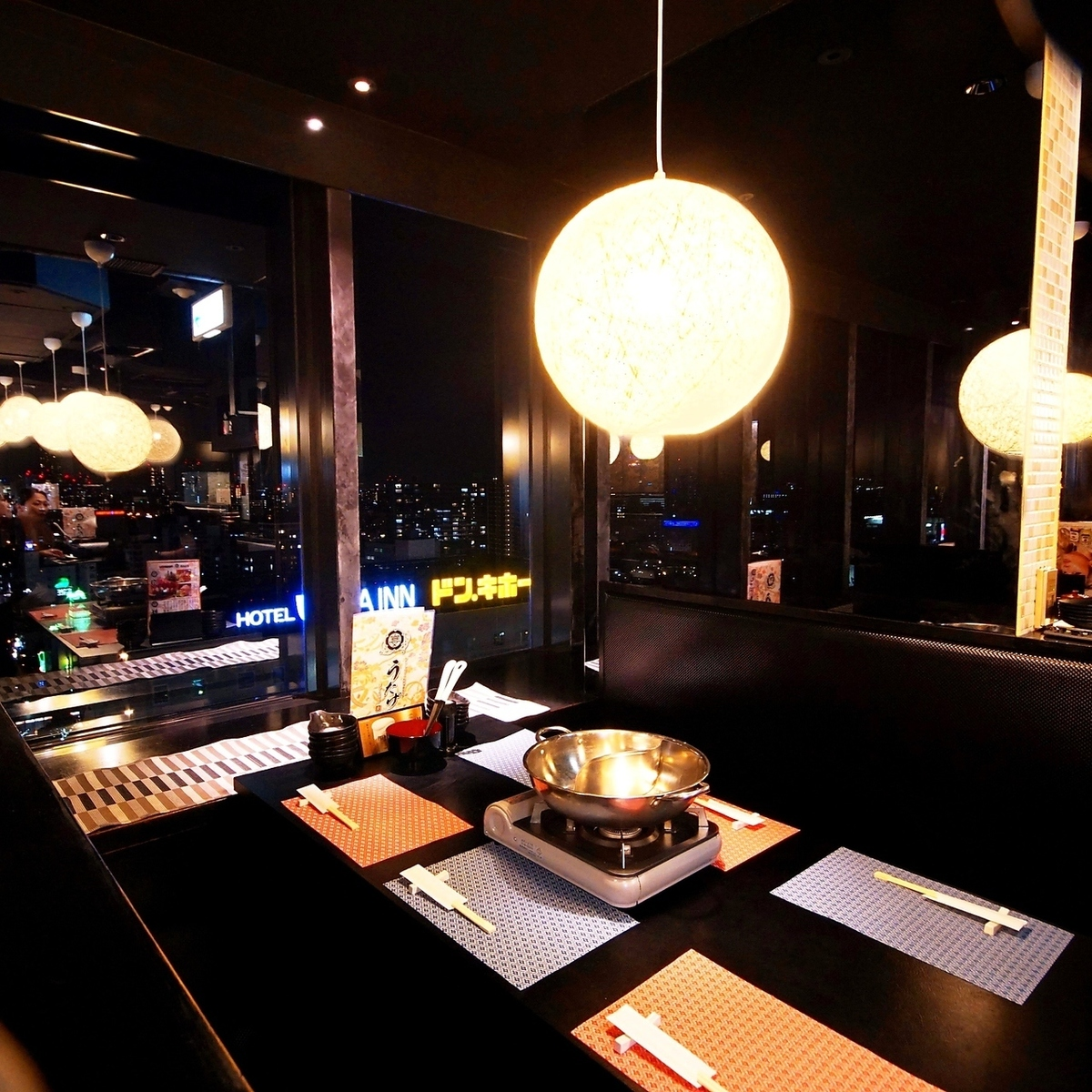 Table seats overlooking the night view of Osaka ♪ Parties and launches, Recommended for the girls' association ◎