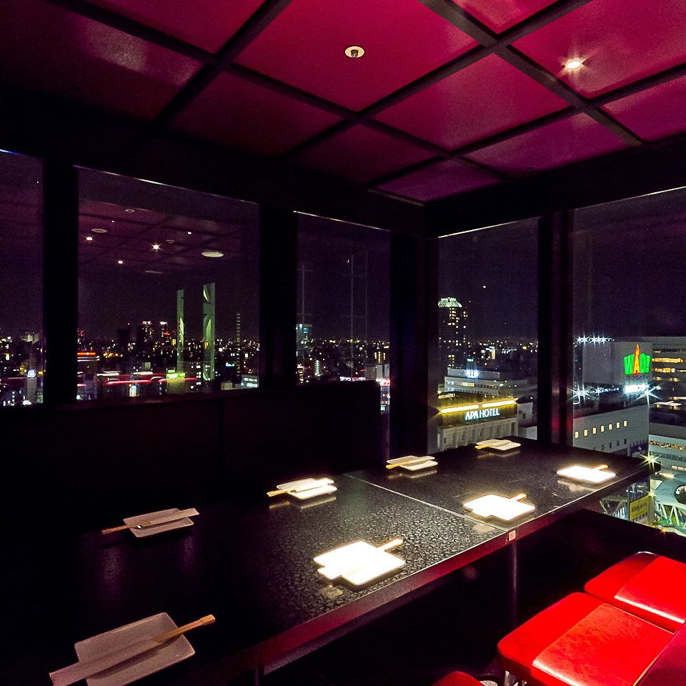 Night view spreading all over the window ◎ All you can eat and drink 2 hours 2900 yen (excluding tax) ~ ♪