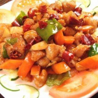 鶏肉四川風辛口炒め