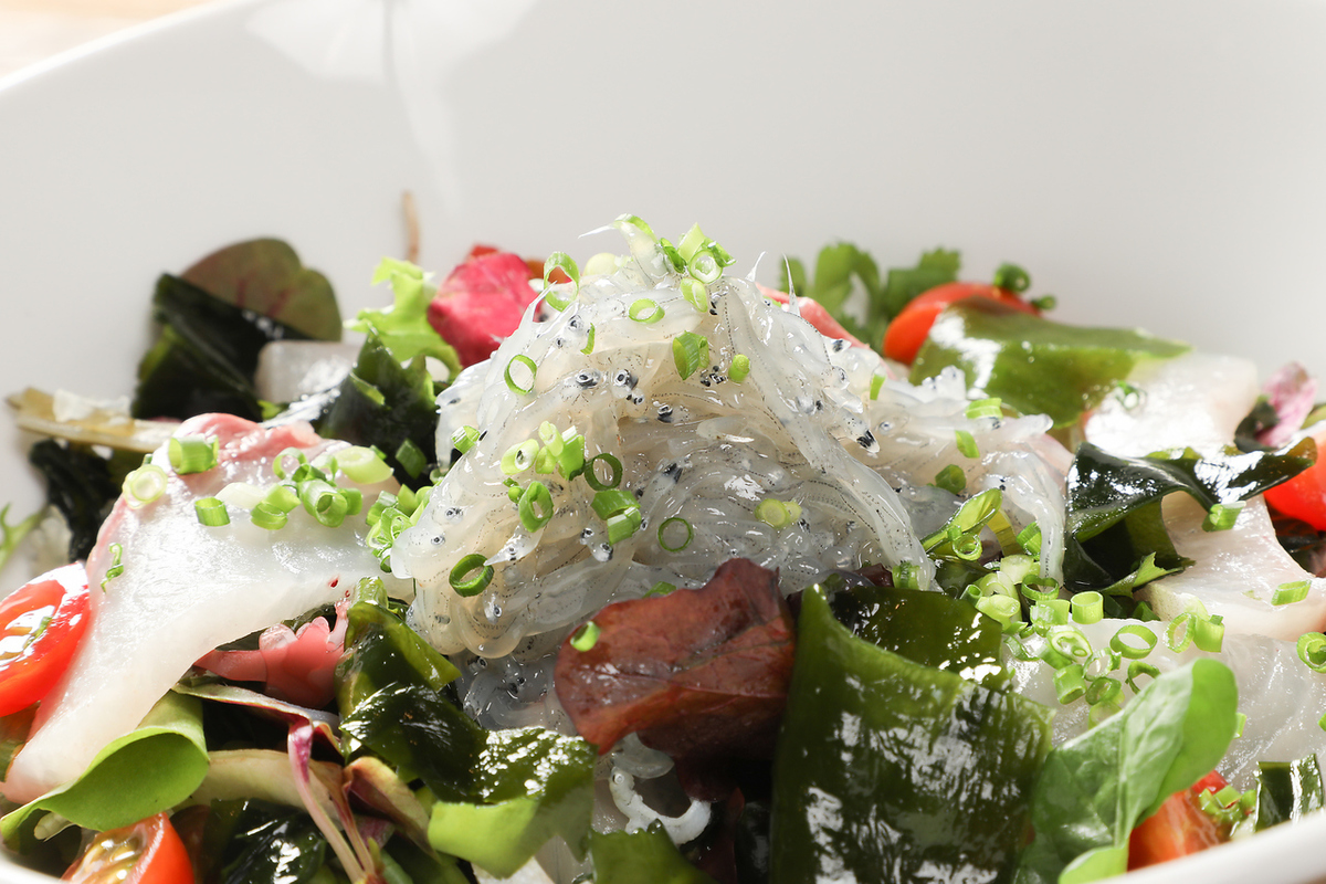 Fresh seafood salad with raw fish