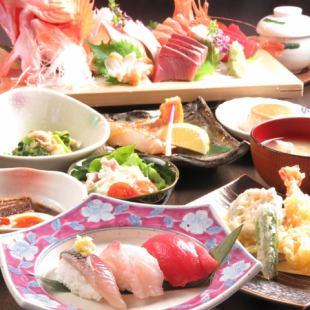 【歓送迎会にぴったり!】豪華姿盛りお寿司や天ぷらが付いた宴会コース⇒全10品6000円