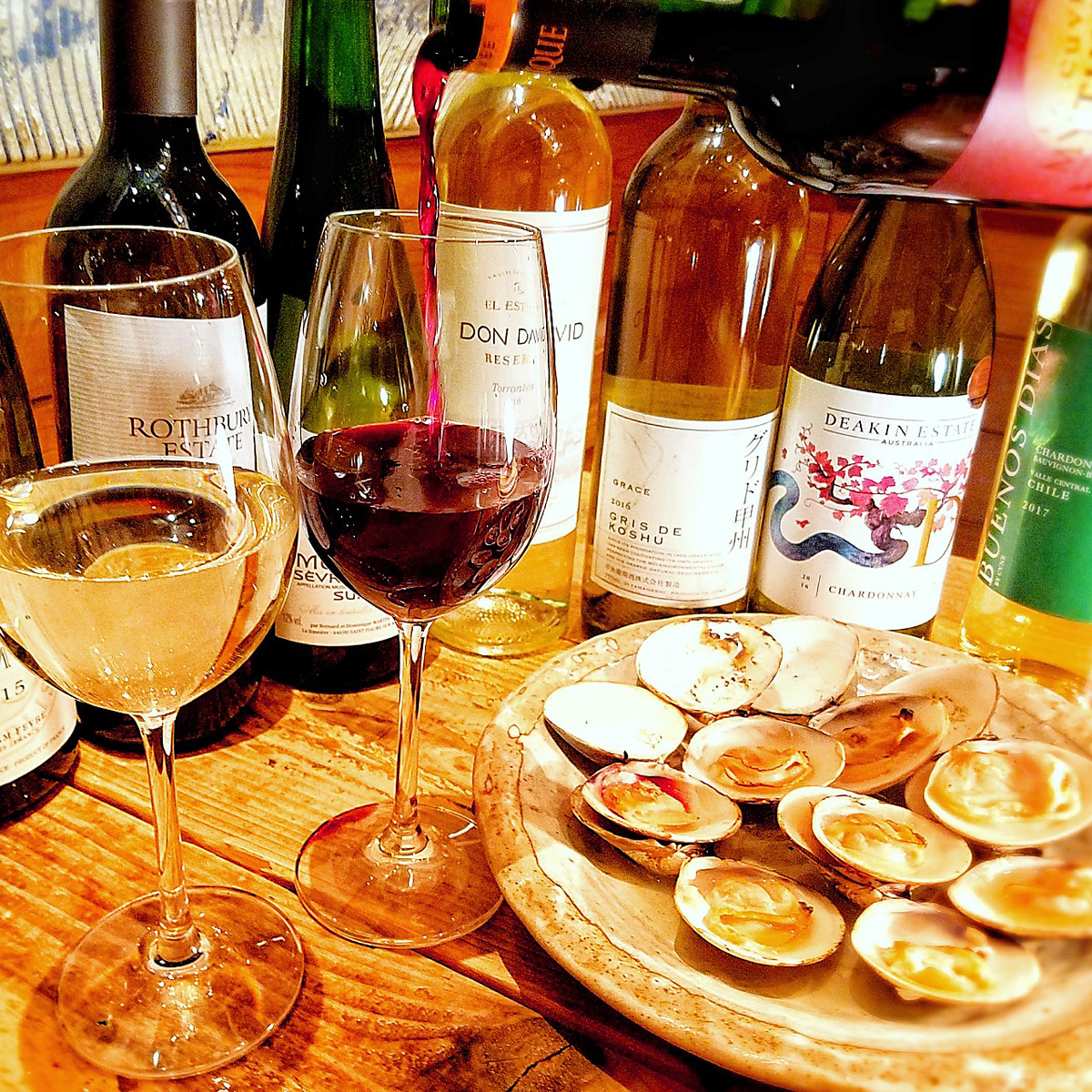 ワインも種類豊富♪はまぐり女子会は如何ですか?