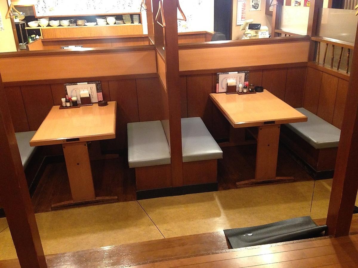 4名様までの個室風テーブル席