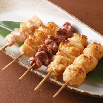 Domestic Yakitori skewer platter (5 skewers) Tax excluding 760 yen / Various items (kawa, Sand liver, Chicken mecha, Momo, Sasami) 1 160 yen each