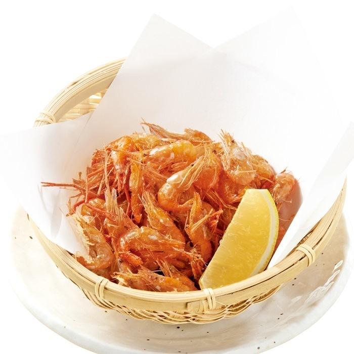 Deep-fried river shrimps