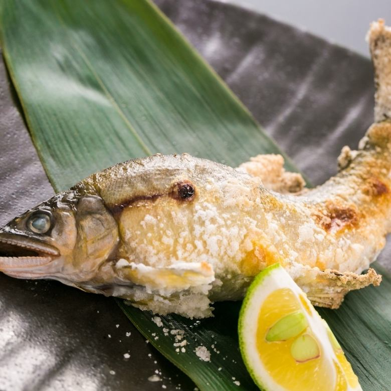 Salt-grilled sweetfish