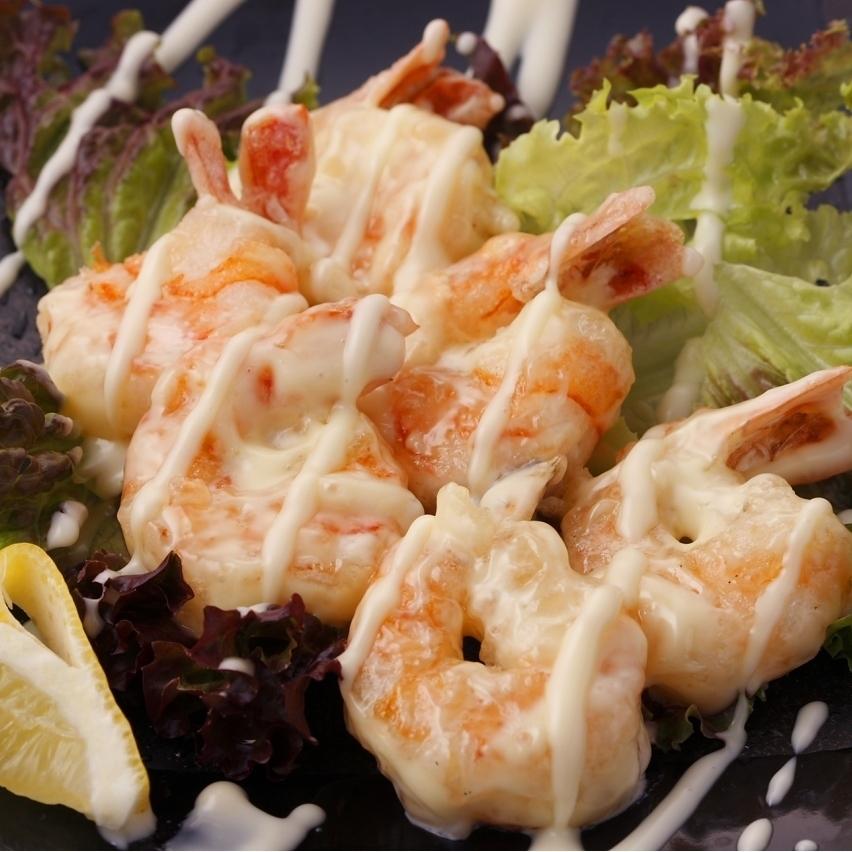 Prawn shrimp prawn with mayonnaise
