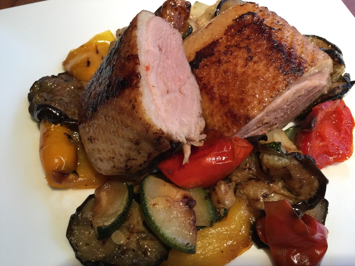 Roasted duck roast meat with sauteed vegetables and Japanese horseradish wasabi