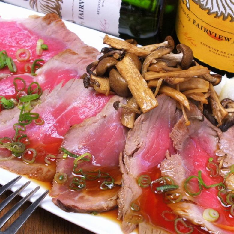 牛肉のタタキ キノコポン酢
