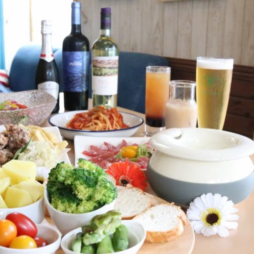 ☆ Popular for girls ☆ Cheese fondue all you can eat course 6 food dishes + 2 hours with unlimited drinks 3000 yen