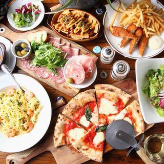 【3時間飲み放題付】ピザ含むお料理8品+3時間飲み放題付シャンパン&テキーラ付コース3000円