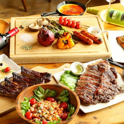 【Party Plan ★ 8 items 4000 yen ★ with drink bar】 ★ Private BBQ course can be tasted ★ Course ★