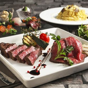 """Popular No. 1 ★ Meat Bar cuisine ★ Roast beef and others ... 8 items """"Mahalo course"""" All-you-can-drink for 3 hours 2,980 yen ⇒ 1, 980 yen"""