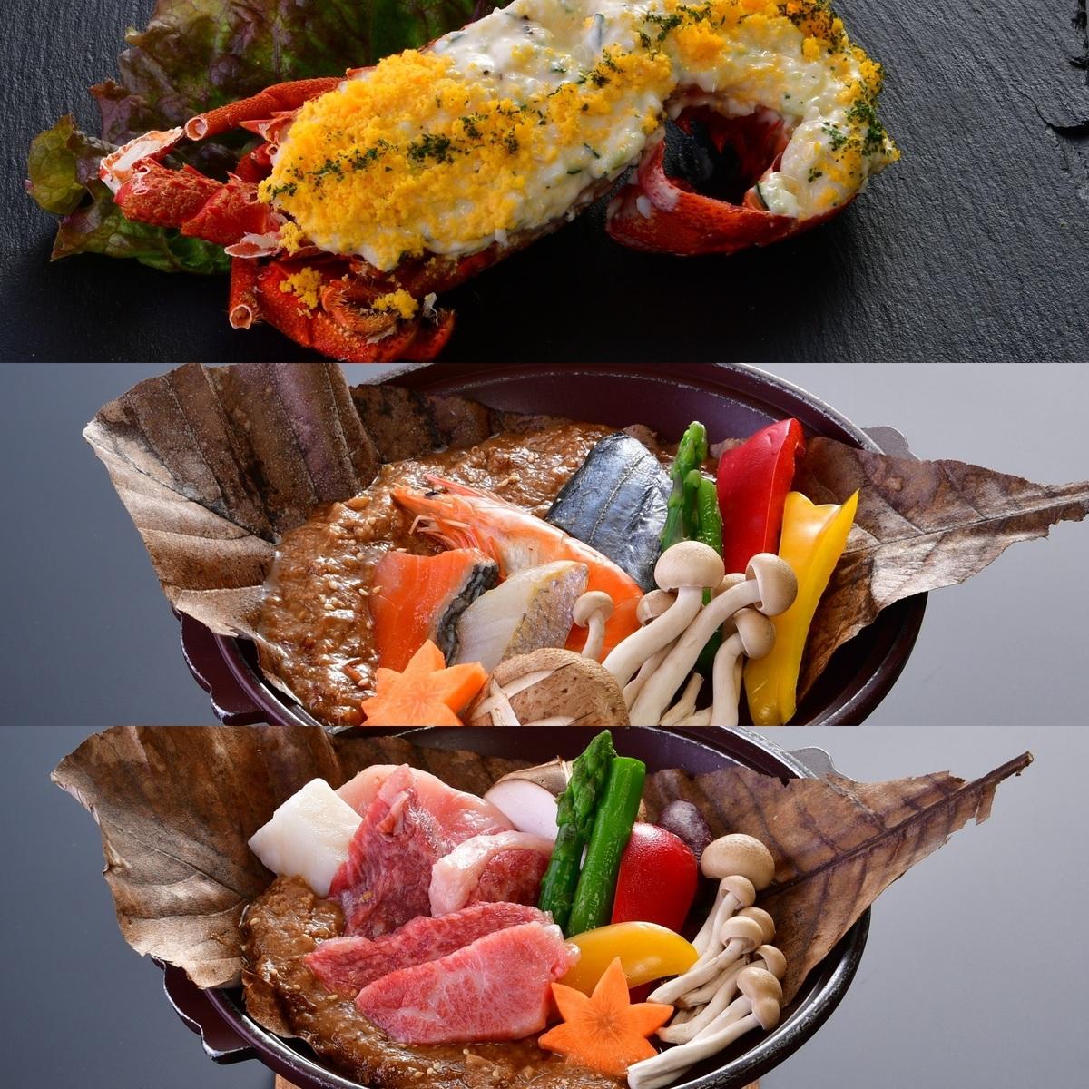 龙虾,海鲜,和牛牛肉