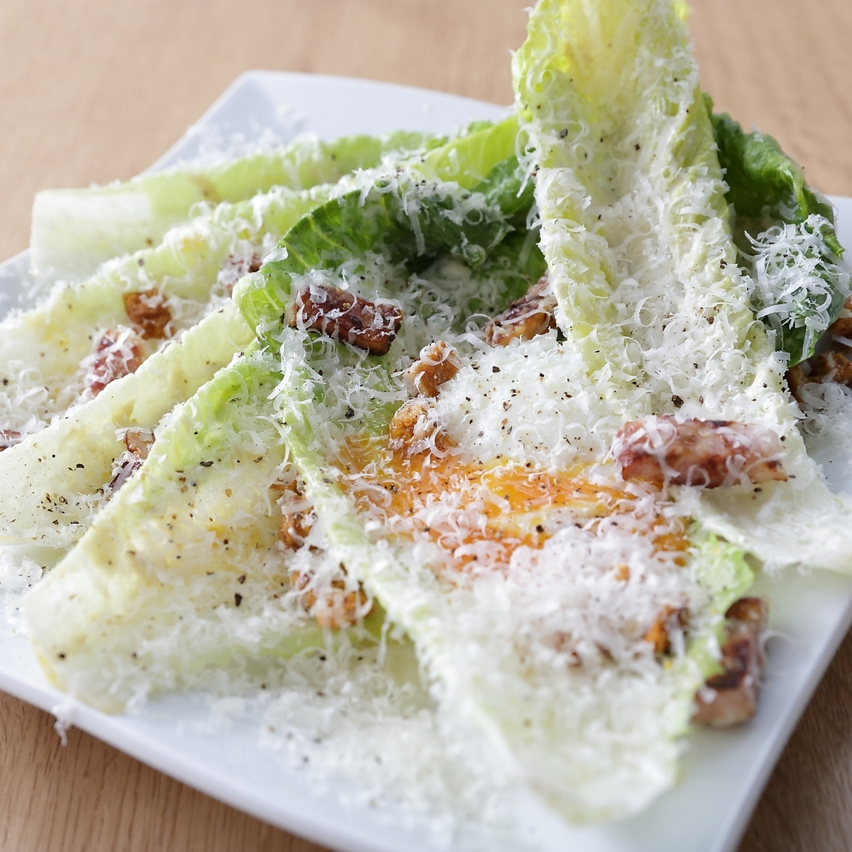 Homemade bacon and Romaine lettuce Caesar salad