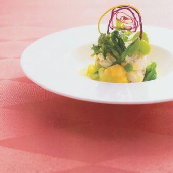 【記念日に】シャンパンも選べる1ドリンク+ケーキ付!前菜3種、お魚&お肉料理、デザートも!