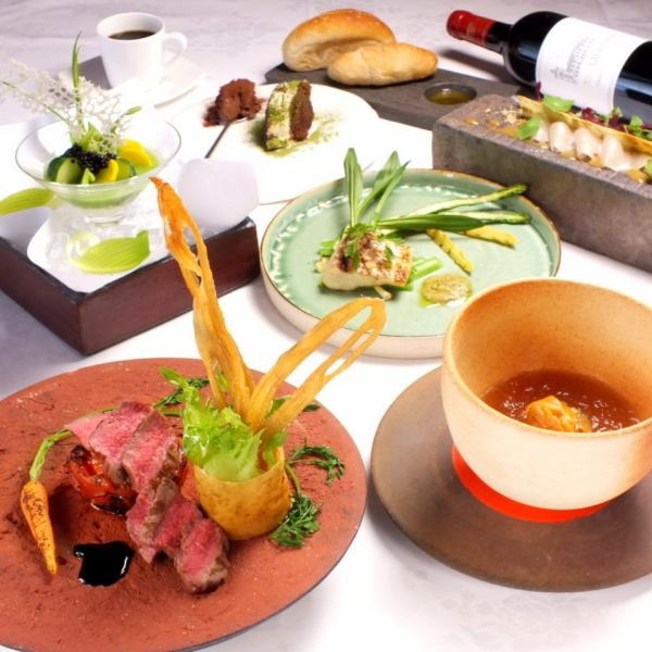 【Dinner Course】 Course using world food ingredients including three appetizers, fish & meat dishes, desserts!