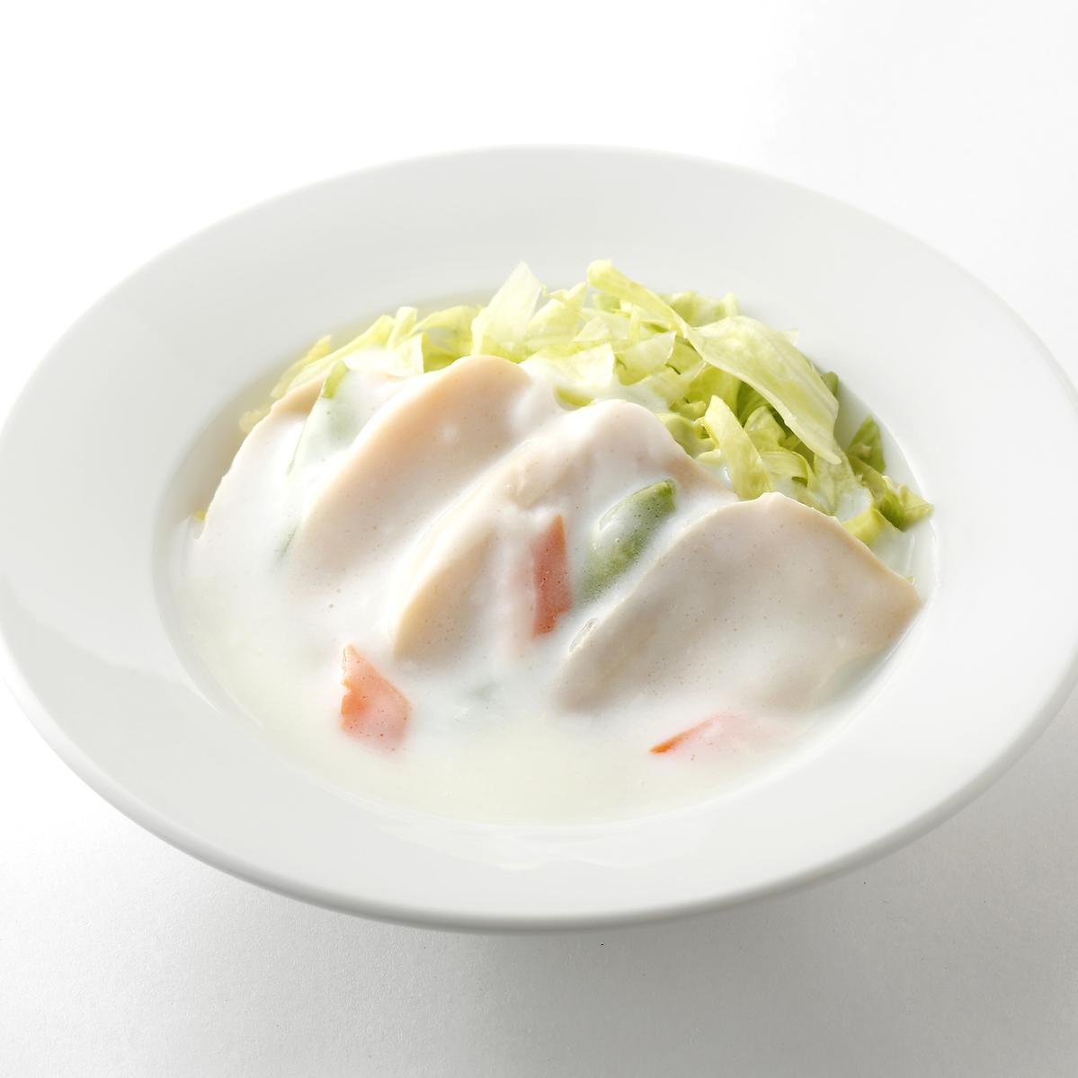 ホタテと季節野菜の炒め/アワビのクリーム煮