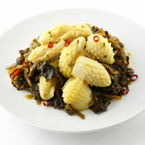 イカのXO醤炒め/イカと高菜の炒め