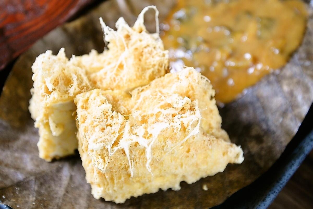 厚揚げの為の豆腐使用!! 島豆腐厚揚げ炙り味噌