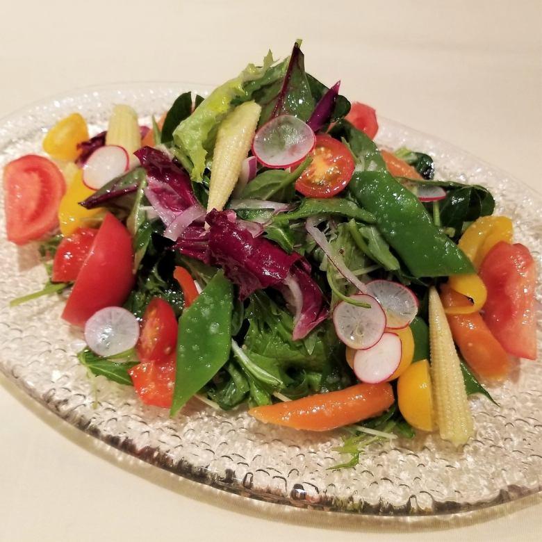 有機ベビーリーフと季節野菜のサラダ